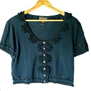 Cropped beeted shrug sweater
